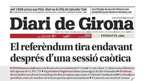 La sesión de este miércoles en el Parlamento de Cataluña acapara las portadas de la prensa