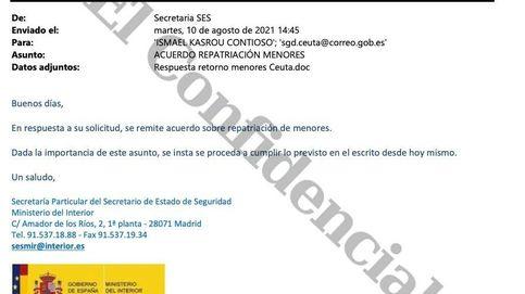 """El correo de Interior a Ceuta que ordenaba la devolución: """"Se insta se proceda hoy mismo"""""""
