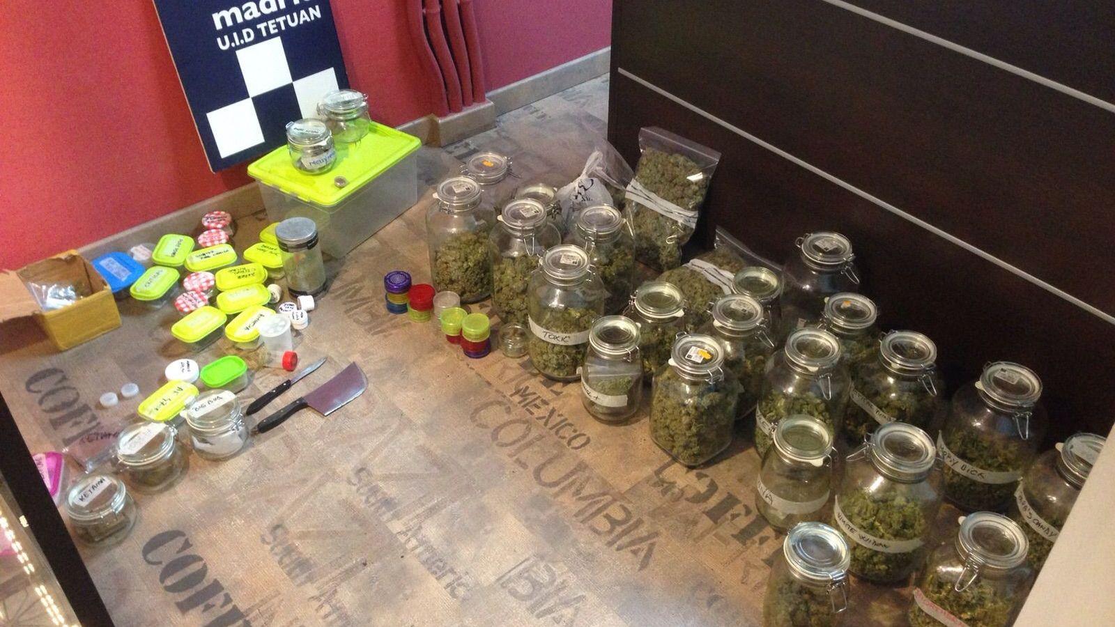 Foto: Droga incautada por la Policía Municipal en el club de fumadores de la madrileña calle Capitán Haya. (EC)