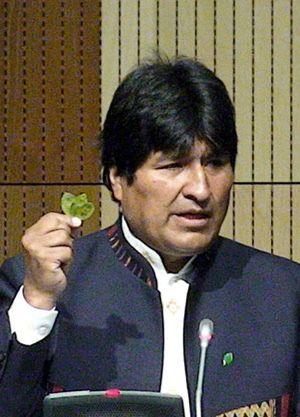 Evo Morales solicita despenalizar la coca y mastica una hoja ante la ONU