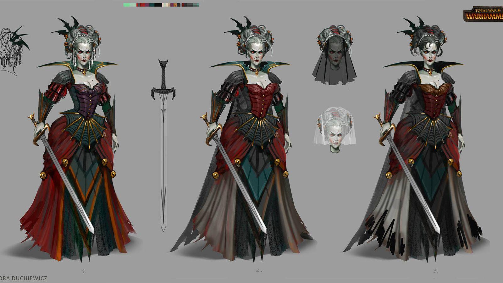 Foto: Una mujer vampiro y unos 'trolls' algunos de los diseños de Sandra Duchiewicz para 'Total War: Warhammer' (Fuente: Sandra Duchiewicz)