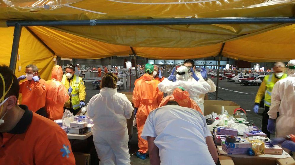 Foto: Personal médico desplazado al hospital de campaña de Ifema. (Cedida)