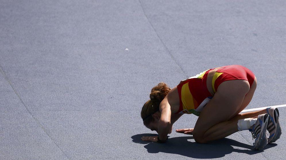 Foto: Diana Martín al finalizar su prueba (David Grey/REUTERS)