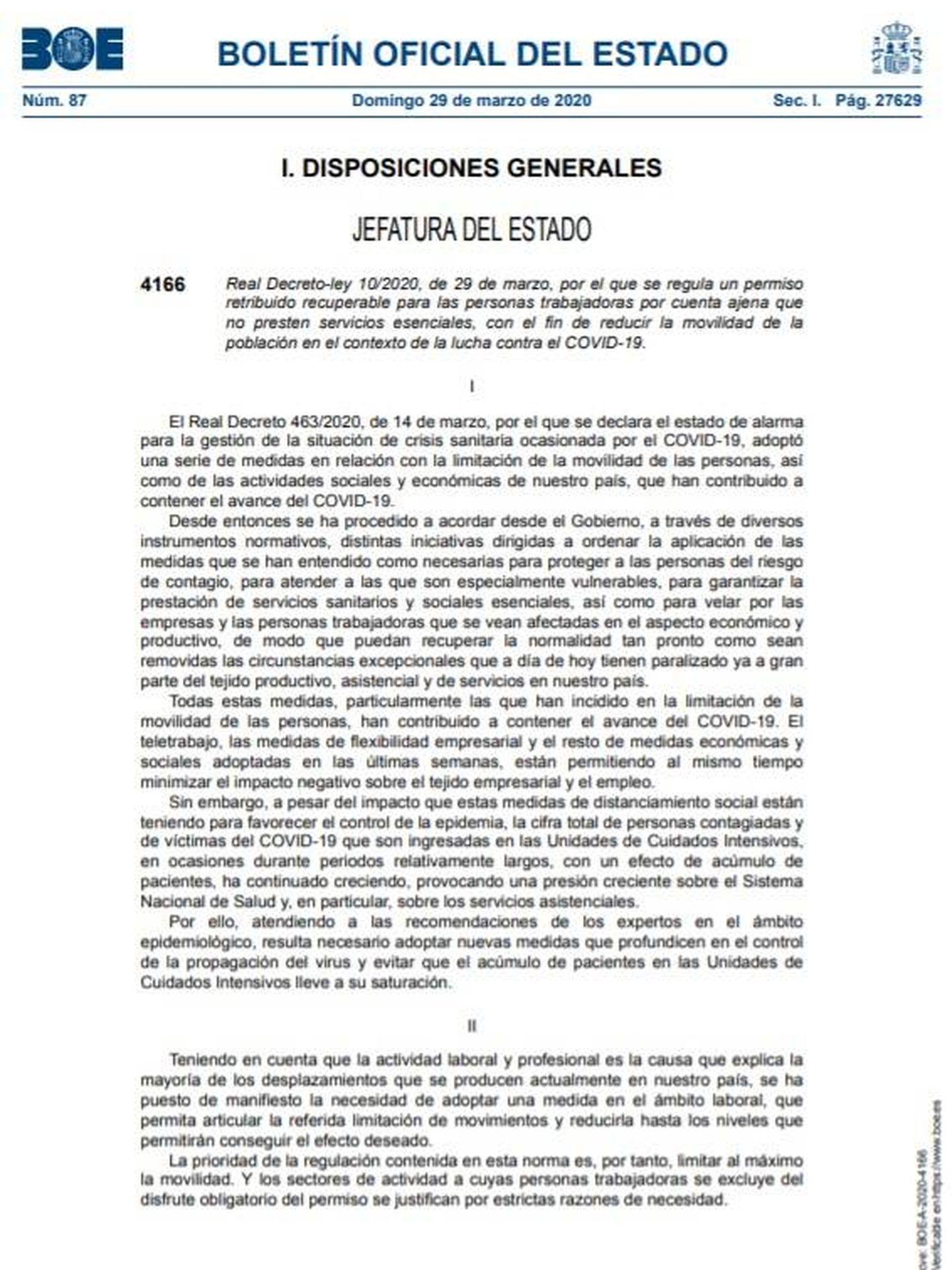Consulte aquí en PDF el real decreto ley 10/2020, de 29 de marzo, de cese de actividad no esencial.