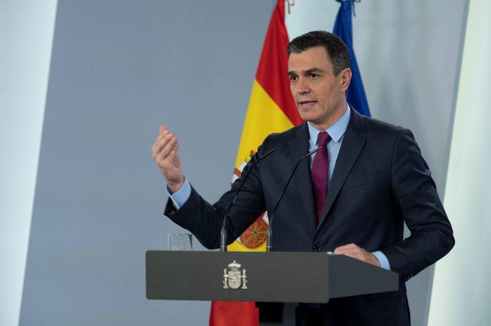 Foto: Pedro Sánchez, este 28 de abril durante su comparecencia telemática en la Moncloa. (Borja Puig   Moncloa)