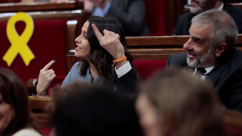 Inés Arrimadas y el ahora jefe de la oposición, Carlos Carrizosa. (EFE)