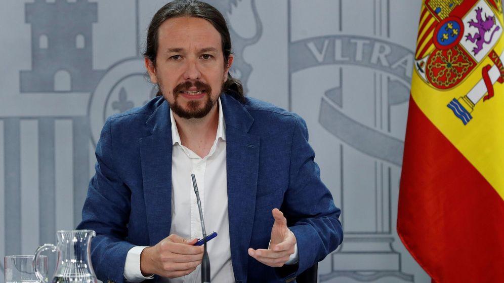 Foto: El vicepresidente segundo del Gobierno, Pablo Iglesias, durante la rueda de prensa tras el Consejo de Ministros este martes. (EFE)