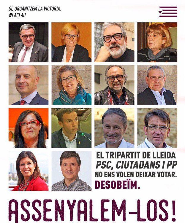 Foto: Cartel de Arran señalando a los concejales de Lleida.
