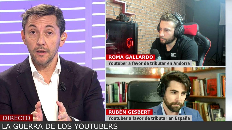 Javier Ruiz, respondiendo a Roma y a Gisbert en 'Cuatro al día'. (Mediaset)