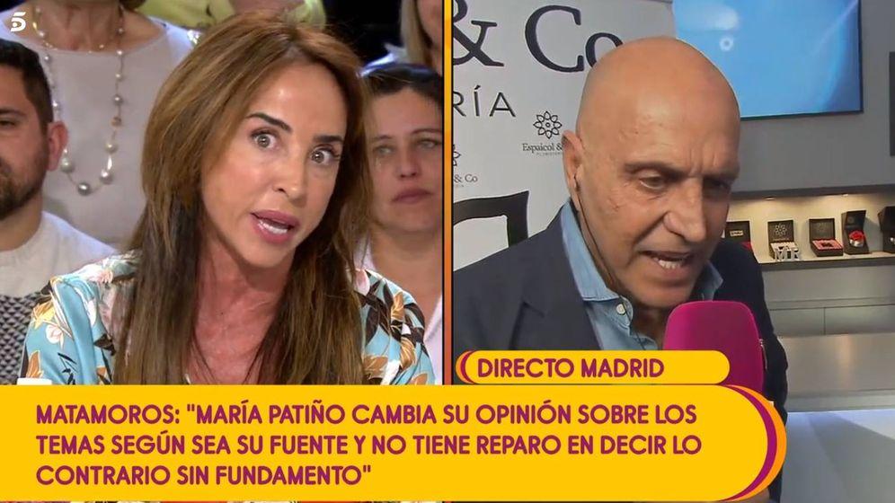 Foto: María Patiño y Kiko Matamoros, en 'Sálvame'. (Telecinco)