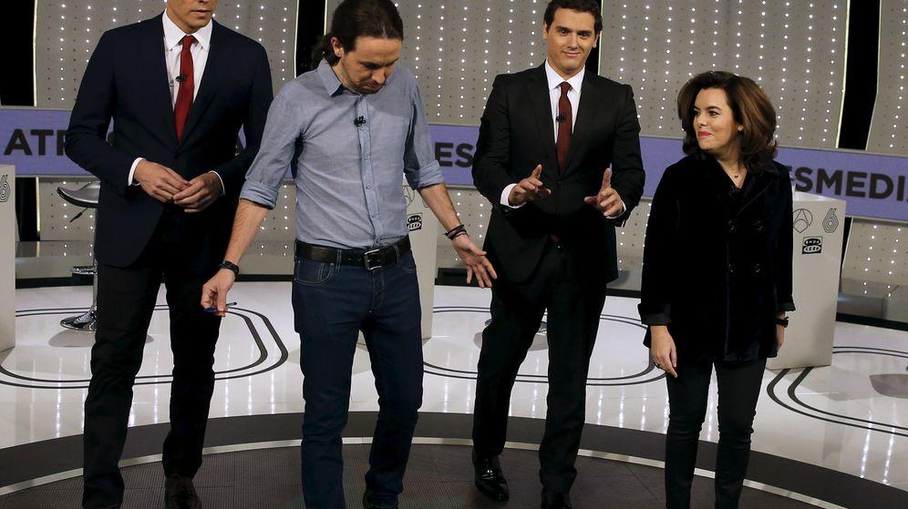 Foto: Pedro Sánchez, Pablo Iglesias, Albert Rivera y Soraya Saénz de Santamaría en el debate a cuatro de Atresmedia (Reuters)
