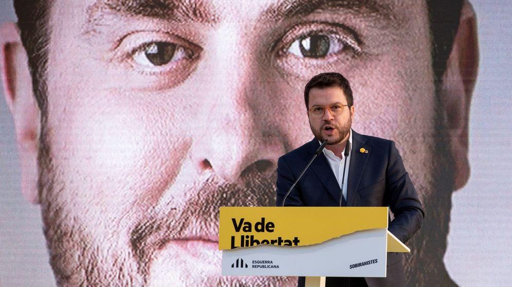 Foto: Aragonès, en un acto de campaña. (EFE)