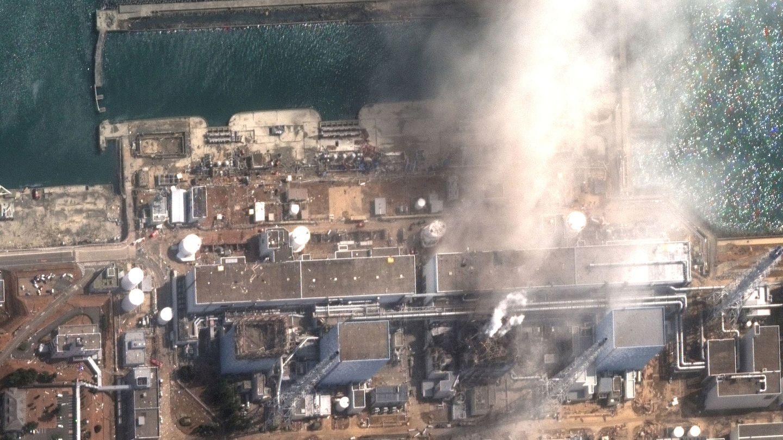 Foto de la planta de Fukushima vista desde el espacio tras su explosion en  2011. Foto: Maxar Technologies Handout via REUTERS.