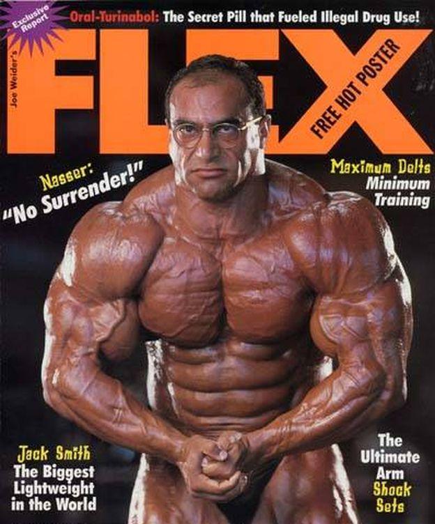 Foto: El Sonbaty en la portada de una popular revista de 'bodybuilding'.