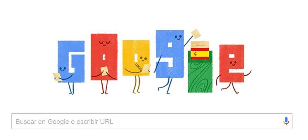 Foto: El doodle que Google dedica este domingo 26 de junio a las elecciones generales en España (Google)