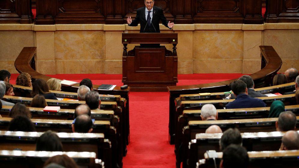 Foto: Torra, este jueves, en el Parlament. (Reuters)