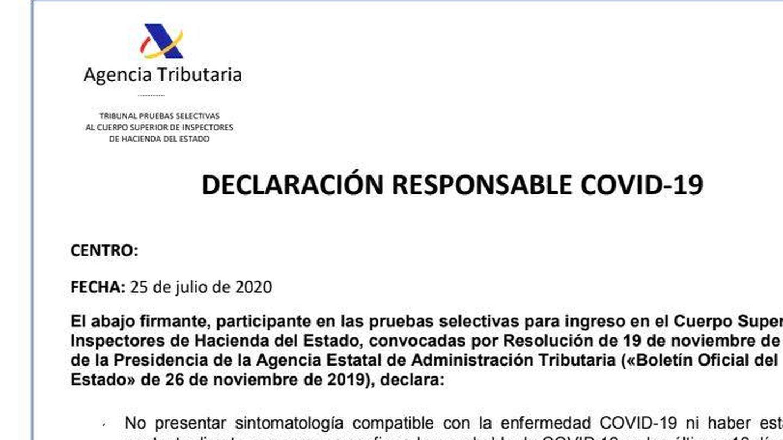 Declaración de responsabilidad para los opositores a inspector de Hacienda. (EC)