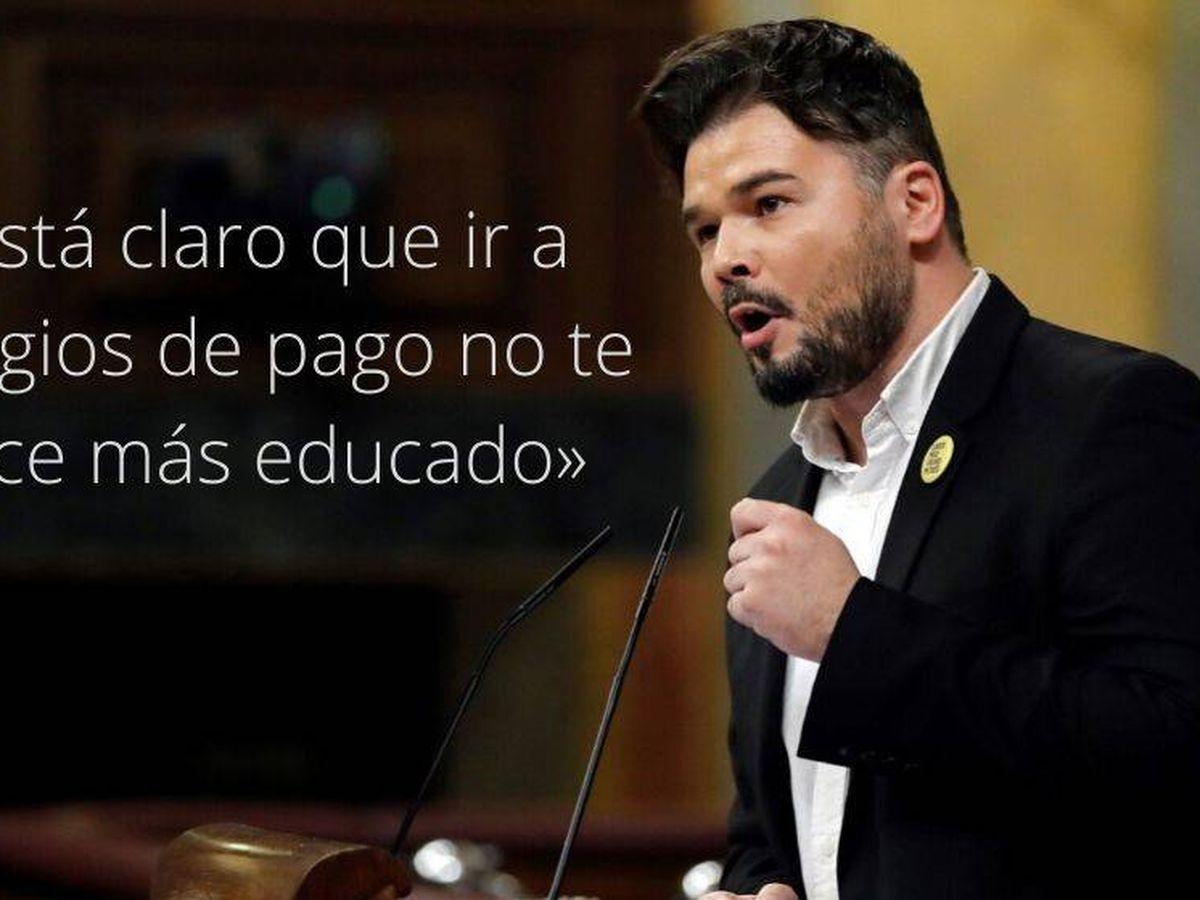 Foto: Frase de Gabriel Rufián durante la sesión de investidura. (EC)