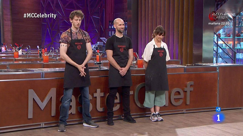 Nicolás Coronado, Gonzalo Miró y Melani Olivares, en 'Masterchef Celebrity'. (TVE)