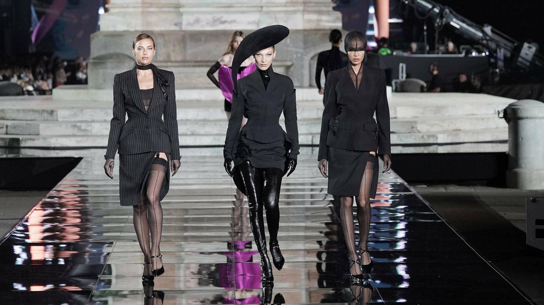 Irina Shayk, Bella Hadid y Joan Smalls, en CR Runaway. (Getty)
