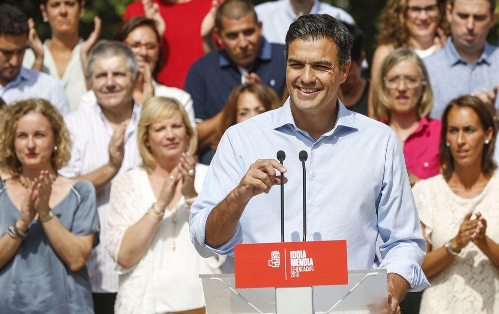 Foto: Pedro Sánchez, durante el acto de presentación de los candidatos del PSE a las elecciones vascas del 25-S, este 4 de septiembre en el palacio Miramar de San Sebastián. (EFE)