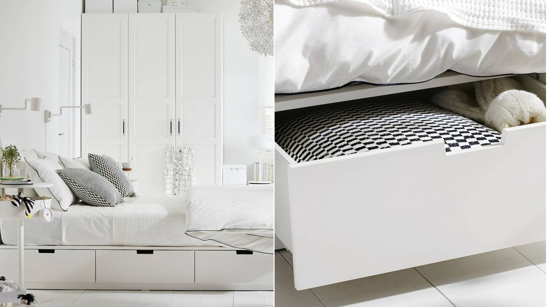 Cama con almacenamiento de Ikea. (Cortesía)