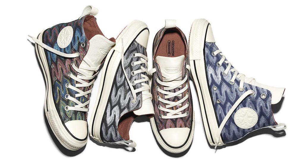 Foto: Los cuatro modelos de las nuevas zapatillas Converse revisadas por Missoni (Cortesía)