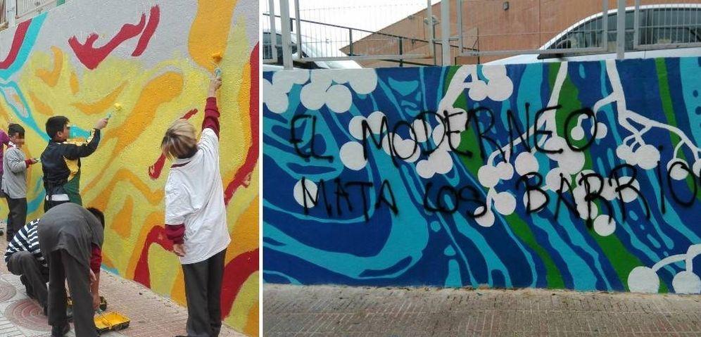 Foto: En el mural vandalizado participaron sobre todo niños (Asociación Vecinal Solidaridad de Cuatro Caminos - Tetuán)