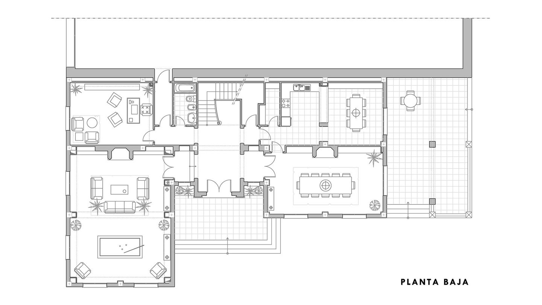 Plano de la planta baja de Finca Cetrina. (Cortesía de Díaz y Sanjuan)
