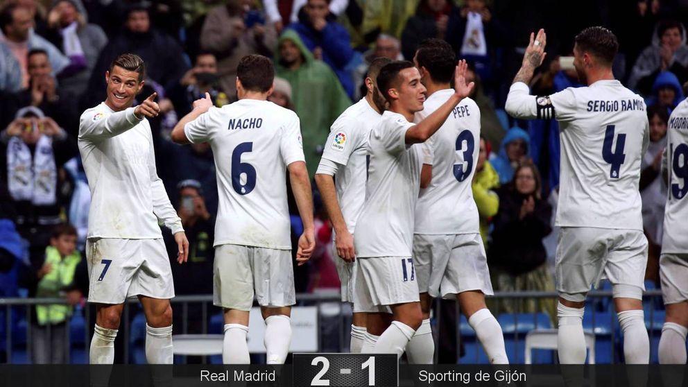 El Madrid sobrevive a su apatía y gana al Sporting con un doblete de Cristiano