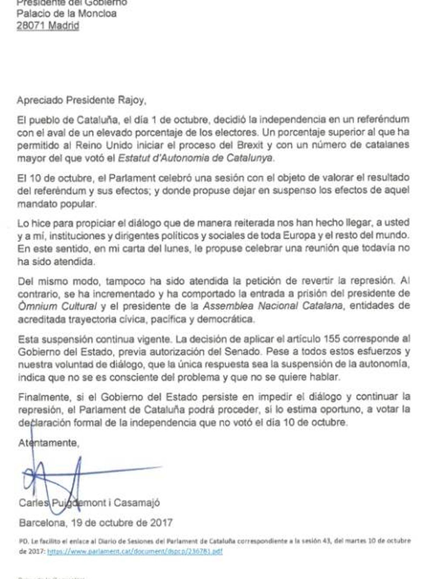 Carta de Puigdemont a Mariano Rajoy