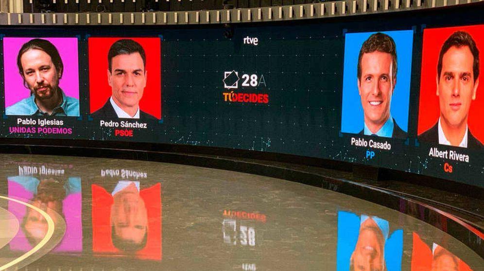 Foto: Estudio de Prado del Rey de TVE, preparado para el debate a cuatro de la campaña de las pasadas elecciones (RTVE)