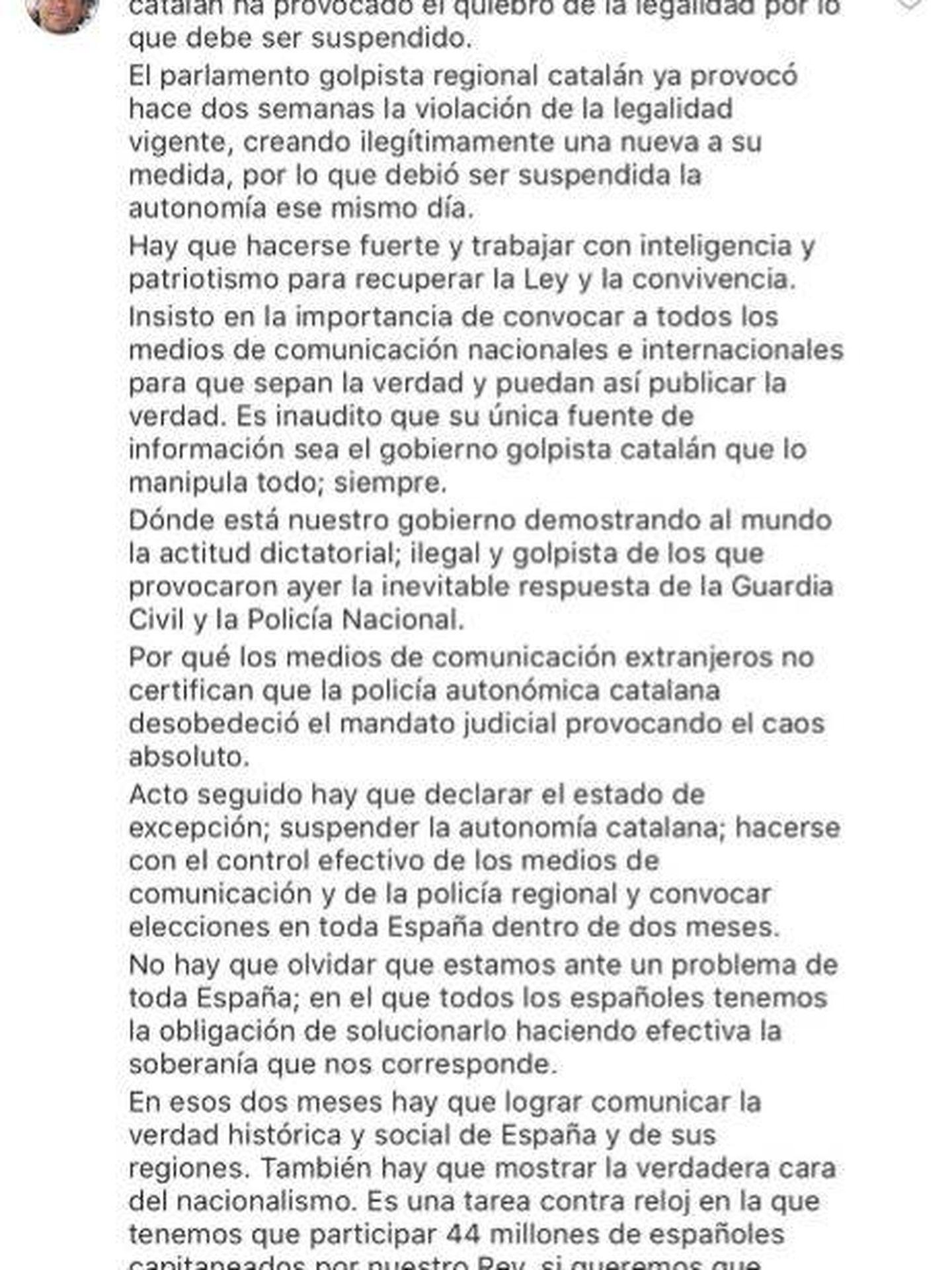 Mensaje de Álvaro Marichalar en Facebook