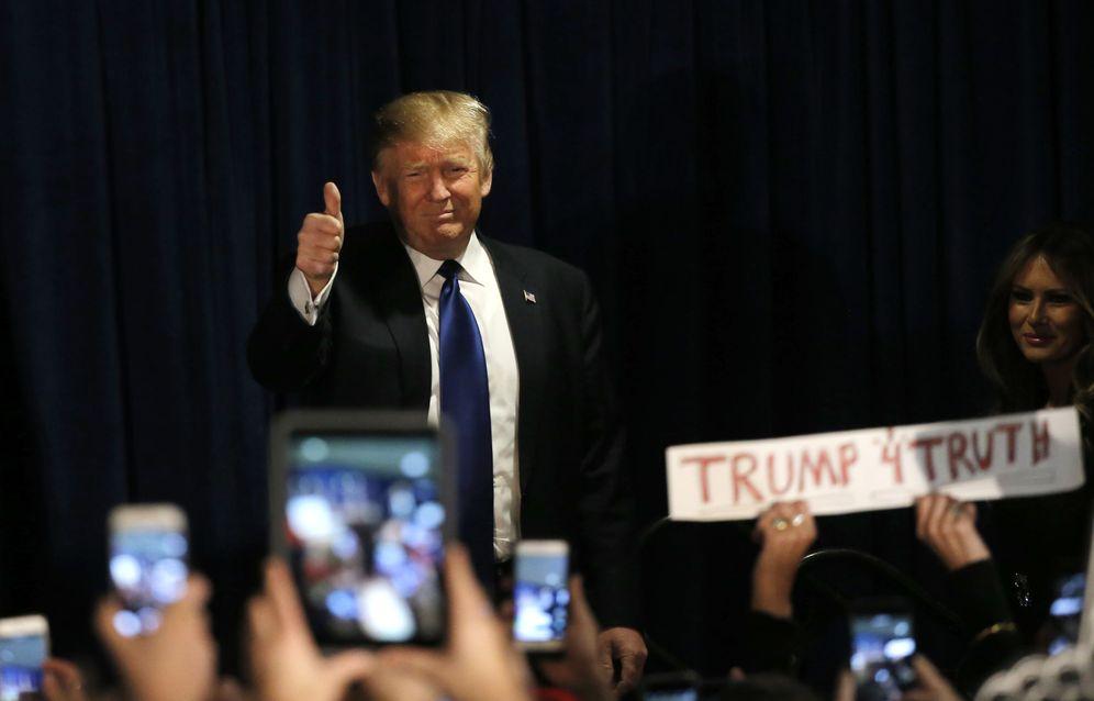Foto: El magnate Donald Trump, tras conocer los resultados de las primarias en New Hampshire, el 9 de febrero de 2016. (Reuters)
