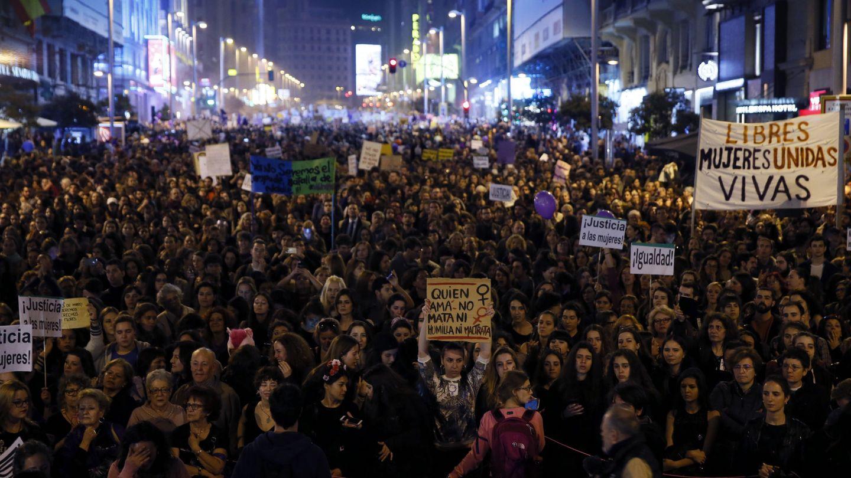 Imagen durante las manifestaciones del 8 de marzo previas al confinamiento. (EFE)