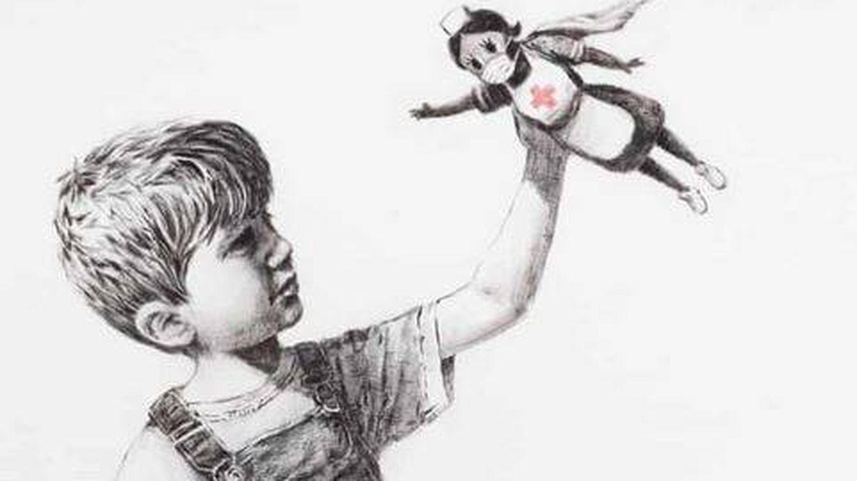 Banksy alcanza su récord en la subasta de su obra dedicada a los sanitarios