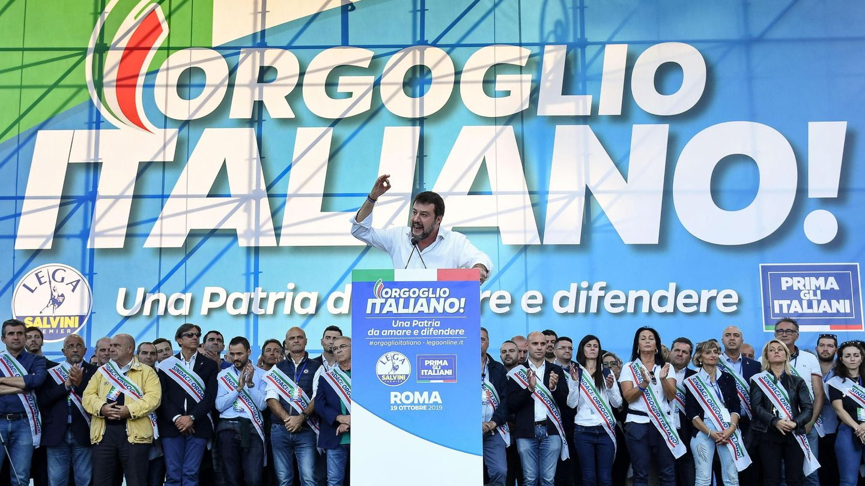 Matteo Salvini en un mitin. (Reuters)