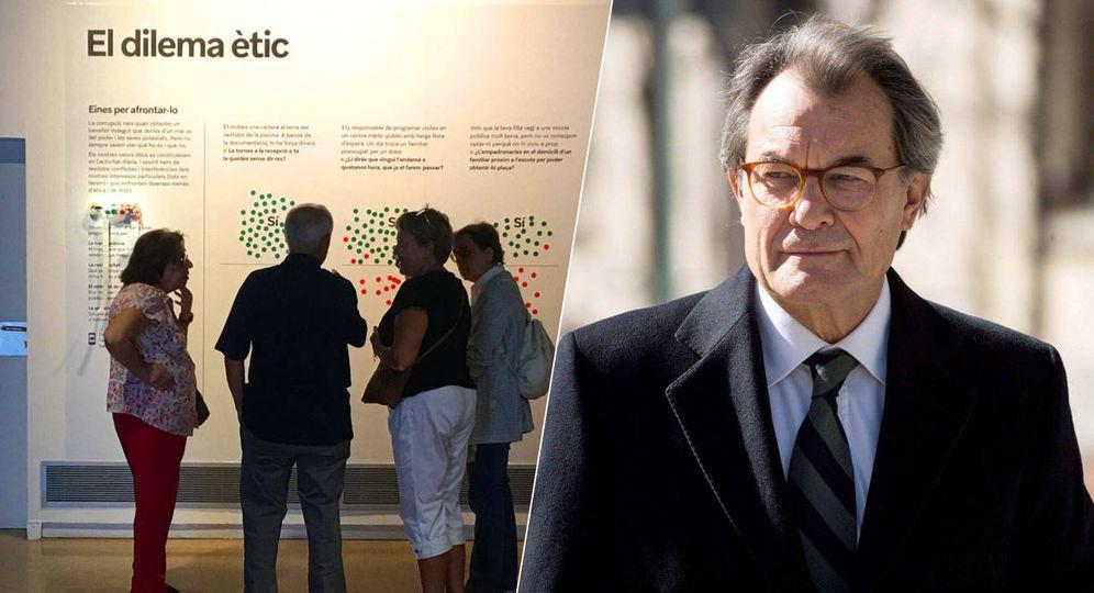 Foto: A la izquierda, la exposición '¡Corrupción! Revuelta ética'. A la derecha, Artur Mas. (EFE)