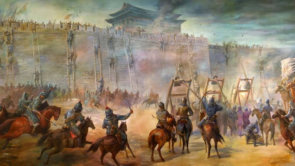 Foto: Recreación de la toma de la ciudad trurkmena amurallada de Merv por los mongoles de Gengis Khan