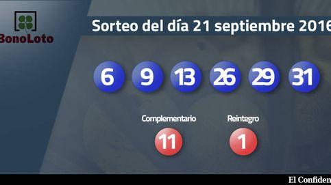 Resultados del sorteo de la Bonoloto del 21 septiembre 2016: números 6, 9, 13, 26, 29, 31