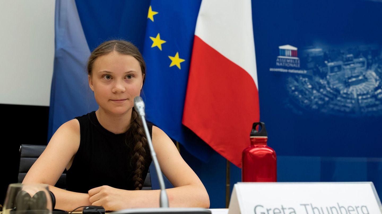 La activista Greta Thunberg, durante su discurso en la Asamblea Nacional francesa. (Reuters)