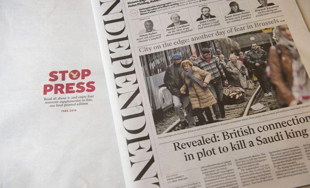 Foto: Última edición impresa del periódico 'The Independent', el pasado 23 de marzo. (EFE)