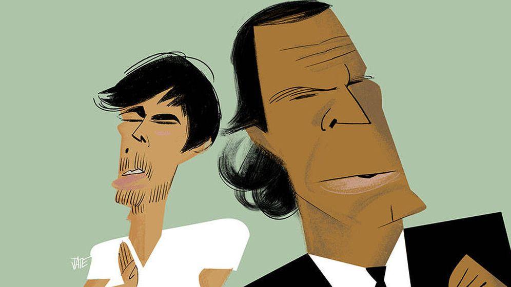 Foto: Enrique y Julio Iglesias. (Ilustración: Jate)