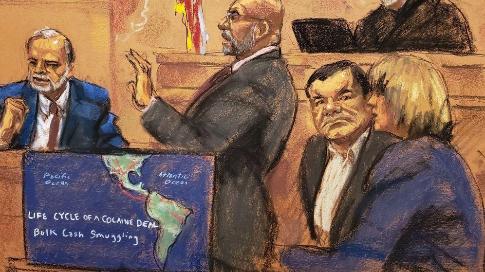 Foto: El ex investigador de la DEA Donald Semesky testifica en el juicio del 'Chapo', según un dibujo de la artista Jane Rosenberg. (EFE)