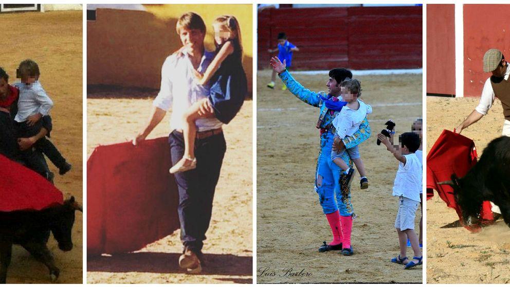 Los toreros echan un capote a Fran Rivera posando con sus hijos