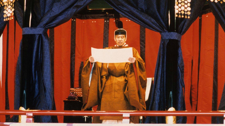 Akihito, en el trono 'Takamikura' el día de su coronación. (Reuters)