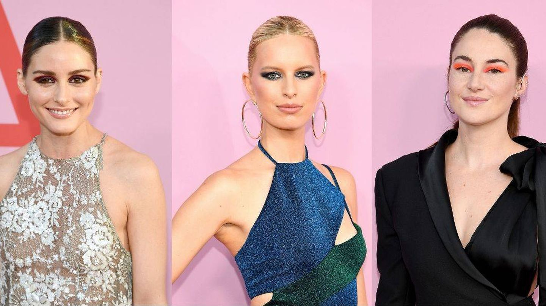 Olivia Palermo, Karolina Kurkova y Shailene Woodley con su maquillaje de ojos muy intenso. (Getty)
