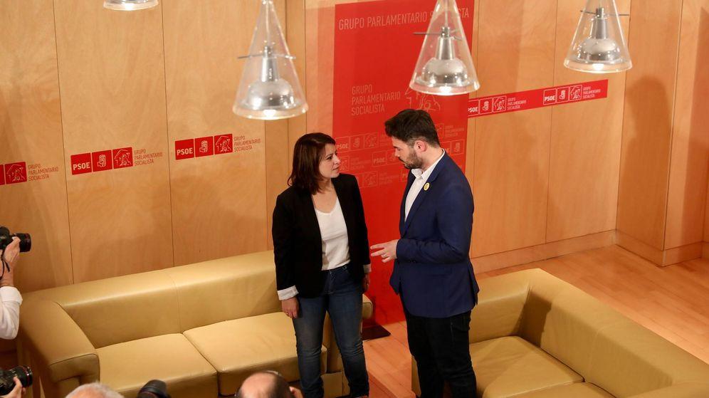 Foto: Adriana Lastra y Gabriel Rufián, portavoz de ERC, en el Congreso de los Diputados, el 13 de junio de 2019. (Inma Mesa | PSOE)