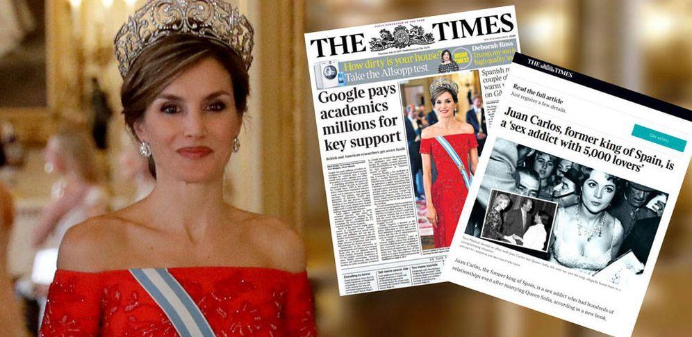 Foto: Letizia y el diario 'The Times', en un fotomontaje elaborado por Vanitatis.