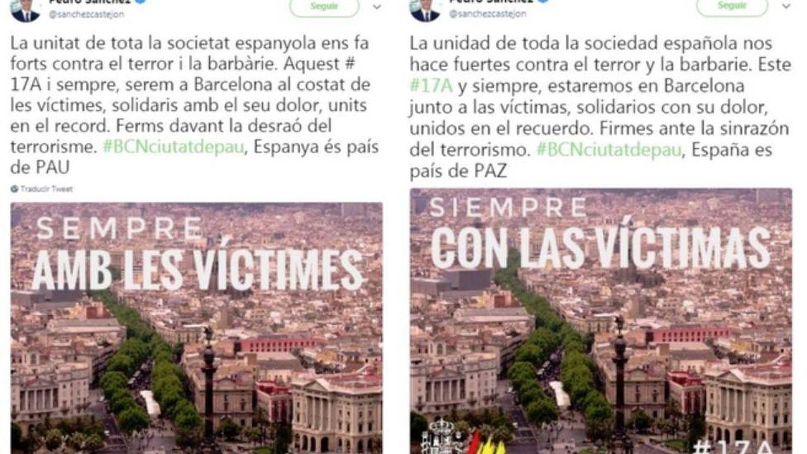Foto: Los dos primeros tuits de Pedro Sánchez